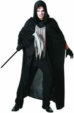 NEW Adult Grim Reaper Costume Halloween One Size Fits Most Black Hooded Cape