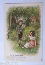 """""""Bambini, Profondo nel Böhmerwald"""" 1908, Cartolina rilievo (31601)"""