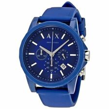 Armani Exchange Stainless Steel Case Blue Silicone StrapWatch AX1327