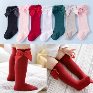 Baby Toddler Girl Knee High Long Socks Cotton Kids Princess Bow Tights Stockings
