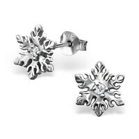 925 Sterling Silver Snowflake with Crystal Cubic Zirconia Stud Earrings