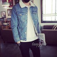 Men's Fleece Jacket Vintage Slim Fit Waistcoat Fur Lined Jean Jacket Denim Coat