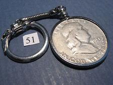 Key Chain Ring w/ 1951 Franklin 90% Silver Half Dollar 50c  ~ neat gift idea