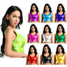 Women PU Shiny Metallic Leather Halter Bikini Tank Crop Top Bra Vest Shirt Latex