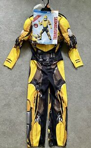 NEW Bumble Bee Transformers Child's Costume w Muscles & plastic mask Sz M (8-10)