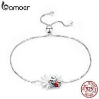 BAMOER 925 Sterling Silver Women Bracelet Enamel CZ Ladybug's Adventure Jewelry
