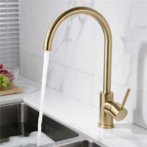 WELS Brass Kitchen Sink Tap Kitchen Mixer Faucet Swivel Spout Brushed Gold