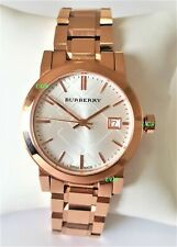Burberry Watch Womens White Dial Rose Gold Band Rose Gold Case BU9104 Genuine