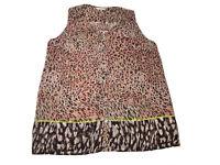 🐆CAbi Women #108 Beguile Top Blouse Sz M Sheer Leopard Print Sleeveless Blouse