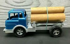 Vintage Hubley Blue Ford Log Truck With Logs #1490 Made In USA