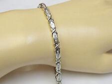 "Natural 1 CTW Baguette Diamond Tennis Link Bracelet Solid 10k White Gold 7.25"""