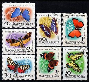 Hungary 1959 ☀ Butterflies Mi.1633-1639 ☀ 7v used