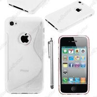 Housse Etui Coque Silicone Motif S-line Transparent Apple iPhone 4S 4 + Stylet