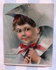 Victorian Calendar*Rainy Day*Scott's Emulsion Cod Liver Oil*Little Boy*Umbrella