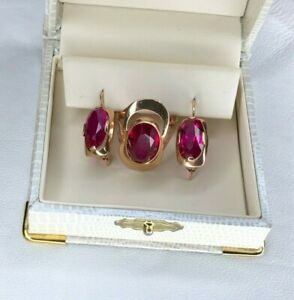 14k / 583 star gold  earrings with ruby set USSR made