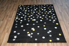 Black White Green Star Large Rug 120cm x 170cm Modern Stars Dots Dazzle Rug