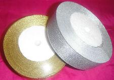 """2 ROLLS Metallic Organza Ribbon 1 Gold & 1 Silver 25mm/1"""", 25 Yards each"""