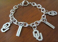 NEW! University of OKLAHOMA SOONERS OU SILVER TOGGLE CHARM BRACELET fan jewelry