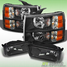 2007-2013 Chevy Silverado Black Headlights +Smoked Fog Lamps Left+Right 07-13
