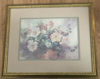 Lena Liu Print, Signed And Numbered, Flowers In Clay Pot, Framed With Glass