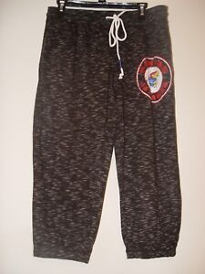 NEW Kansas Jayhawks Women Grey Knit Pants Ladies Size M Joggers Knee Capri