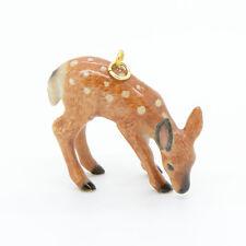 Porcelain Deer Pendant - Fawn Charm Pendant - Hand Painted w/ Gold Hook