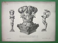 ITALY Roman Artefacts Pompeii Table Legs Candelabrum - 1880s Antique Print