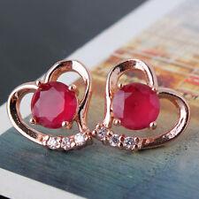 Sweet heart 18k rose gold filled Elegant lady ruby Wedding stud earring