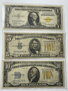 1934/5A Set Of (3) $1,$5 & $10 Yellow Seal North Africa Silver Certificates #1