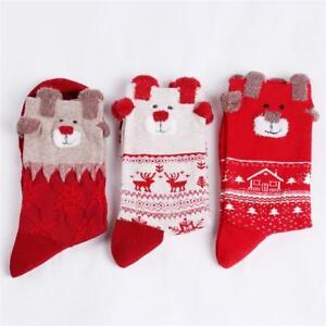 Merry Christmas Socks Women Gift Santa Claus Deer Warm Winter Xmas Funny AA