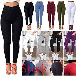 Women High Waist Jeans Denim Trousers Ladies Slim Skinny Ripped Jeggings Pants
