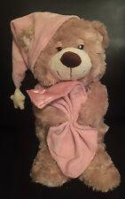 Toys R Us Sleepy Teddy Bear Brown Pink Night Cap Blanket Plush Stuffed Animal