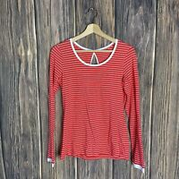 Columbia Top Small Long Sleeves Coral White Stripes PFG Omni-wick
