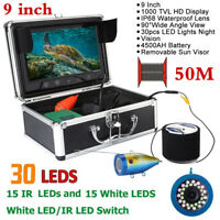 9'' 1000TVL LCD Underwater Camera Fish Finder Sonar Ice/Sea/River Fishing 50M