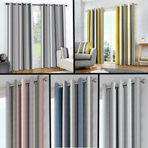 STRIPED RING TOP FULLY LINED PAIR EYELET READY MADE CURTAINS BLACK OCHRE GREY