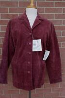 Womens Stan Herman Studio Suede Leather Jacket Coat Berry Sz M New w Tags RP$109