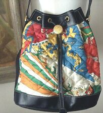 Authentic Rare GUCCI Multi-Color Silk + Black Leather Bucket Shoulder Bag