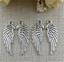 Wholesale 8pcs Tibetan silver single Wings Charm Pendant beaded Jewelry Findings