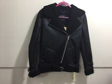 AMERICAN Eagle ladies leather like fur like lined belted NWT black zipper front