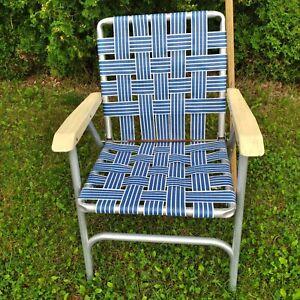 Vintage Folding Lawn Pool Yard Chair Vinyl Straps Blue White Aluminum