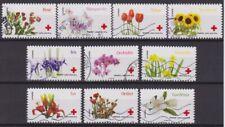 France 2014 : les 10 timbres du Carnet Croix Rouge - L'amour en 10 fleurs - obli