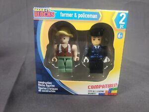 2pk Lego Themed Figures FARMER & POLICE!