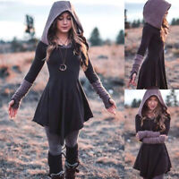 Ladies Medieval Renaissance Gothic Dress Women Vintage Hooded Costume Clothes UK