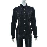 Tommy Hilfiger Women's shirt top Long Sleeve Stitch Detail Black size Medium M