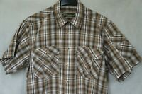 Men's PINEWOOD Outdoor Collection Short Sleeve Active Cotton Shirt Size L Brown
