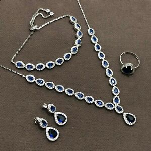 Handmade Quartet Jewelry Set Made of Silver, Necklace, Earrings, Ring, Bracelet