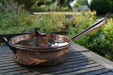 """ANTIQUE 19th century large copper handled saucepan with lid 13"""""""