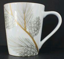 White Silver & Gold Pine Cone Mug  Cup St Nicholas Square