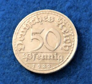 1922 D Germany 50 Pfennig - Nice Old Coin - See PICS