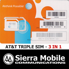 AT&T Triple SIM MINI 2FF+ MICRO 3FF+ NANO 4FF • GSM 4GLTE • Prepaid or Contract